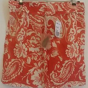 Forever21 orange and white mini skirt